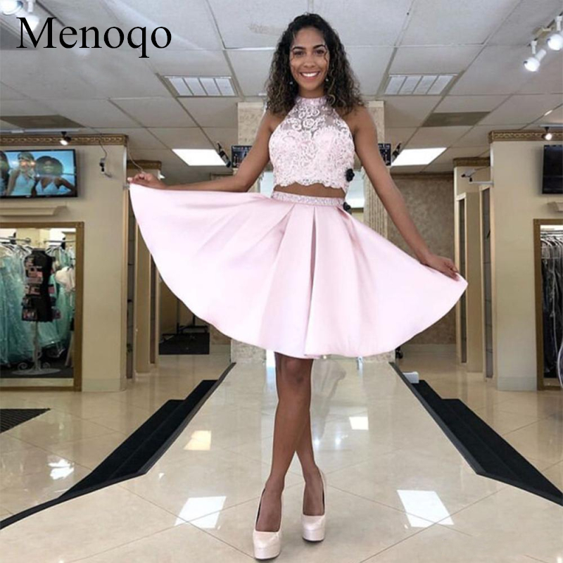 Menoqo Pink Short Ball Gown Cocktail Dresses Two Pieces Lace Satin Sleeveless 2019 Mini Homecoming Graduation Party Gown P42AU15