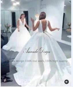 Image 4 - Amanda Disegno robe de mariage 2019 Del Manicotto Della Protezione Del Merletto Appliques Aperto Indietro Abito Da Sposa