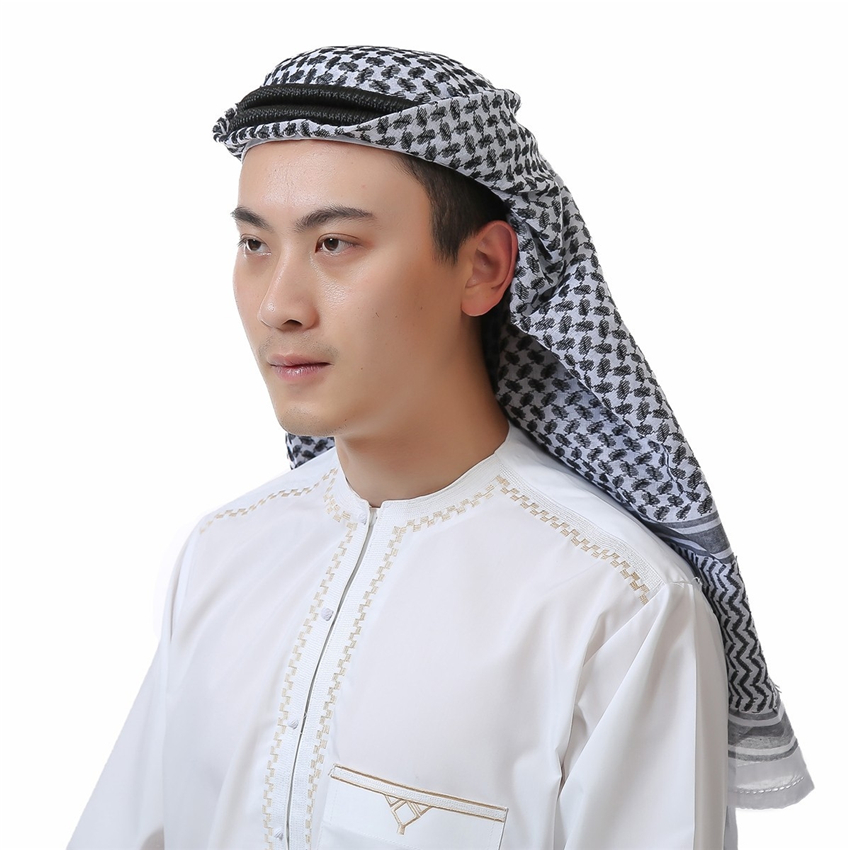 Arab Muslim Men Arabic Scarf Prayer Hats Islamic Clothing Chiffon Turban Dubai Scarf Islamic Hijabs 135*135cm Islam Man Hat