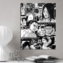Shingeki não kyojin eren yeager ataque no titã pintura em tela decoração da parede arte fotos casa sala de estar decoração impressões cartaz