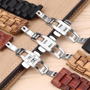 Image 2 - 20 22Mm Hout Horloge Band Voor Huawei Horloge Gt/Galaxy 42/46Mm Roestvrij Stalen Gesp Riem vervanging Armband Voor Gear S3 S2