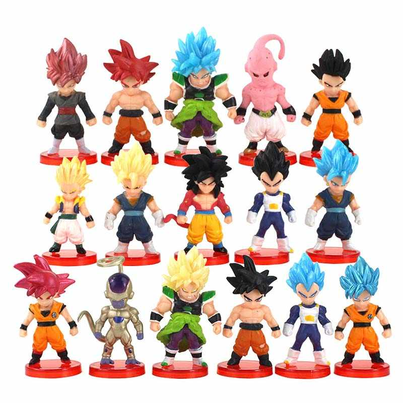 16 pçs/set Figuras De Dragon Ball Z Son Goku Vegeta Freeza Trunks Buu Anime DBZ Broly Collectible Modelo Brinquedos Bonecas