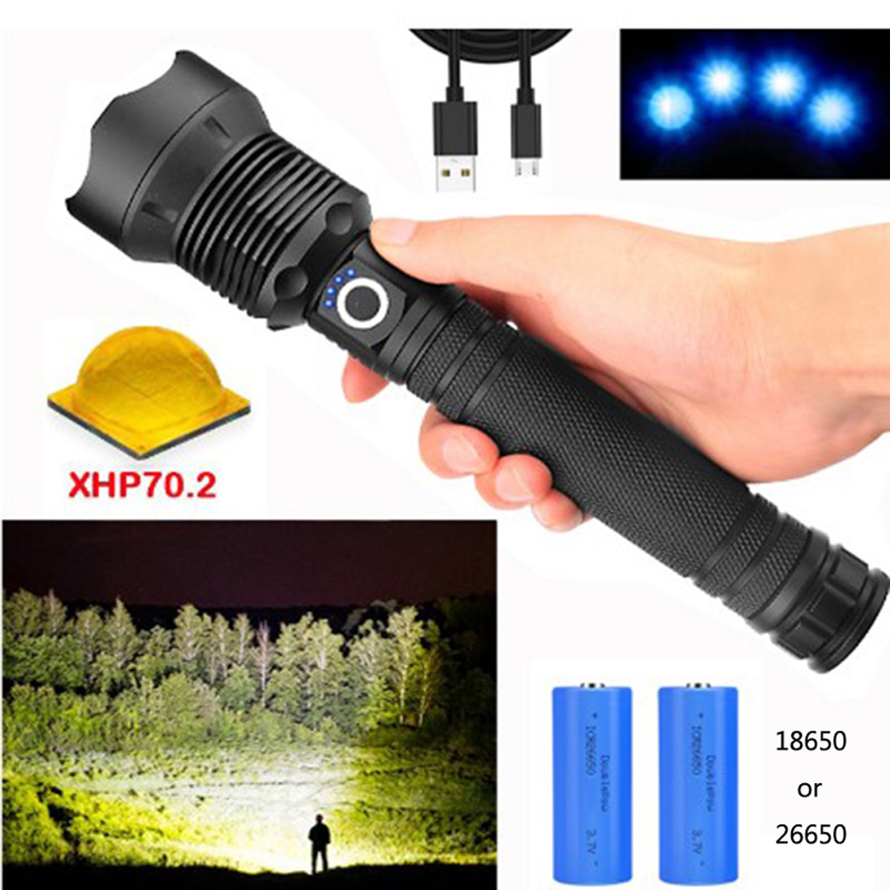 xhp70.2 high power rechargeable led flashlight tactical lantern 90000 lumens light powerful torch usb 18650 battery zoom lamp