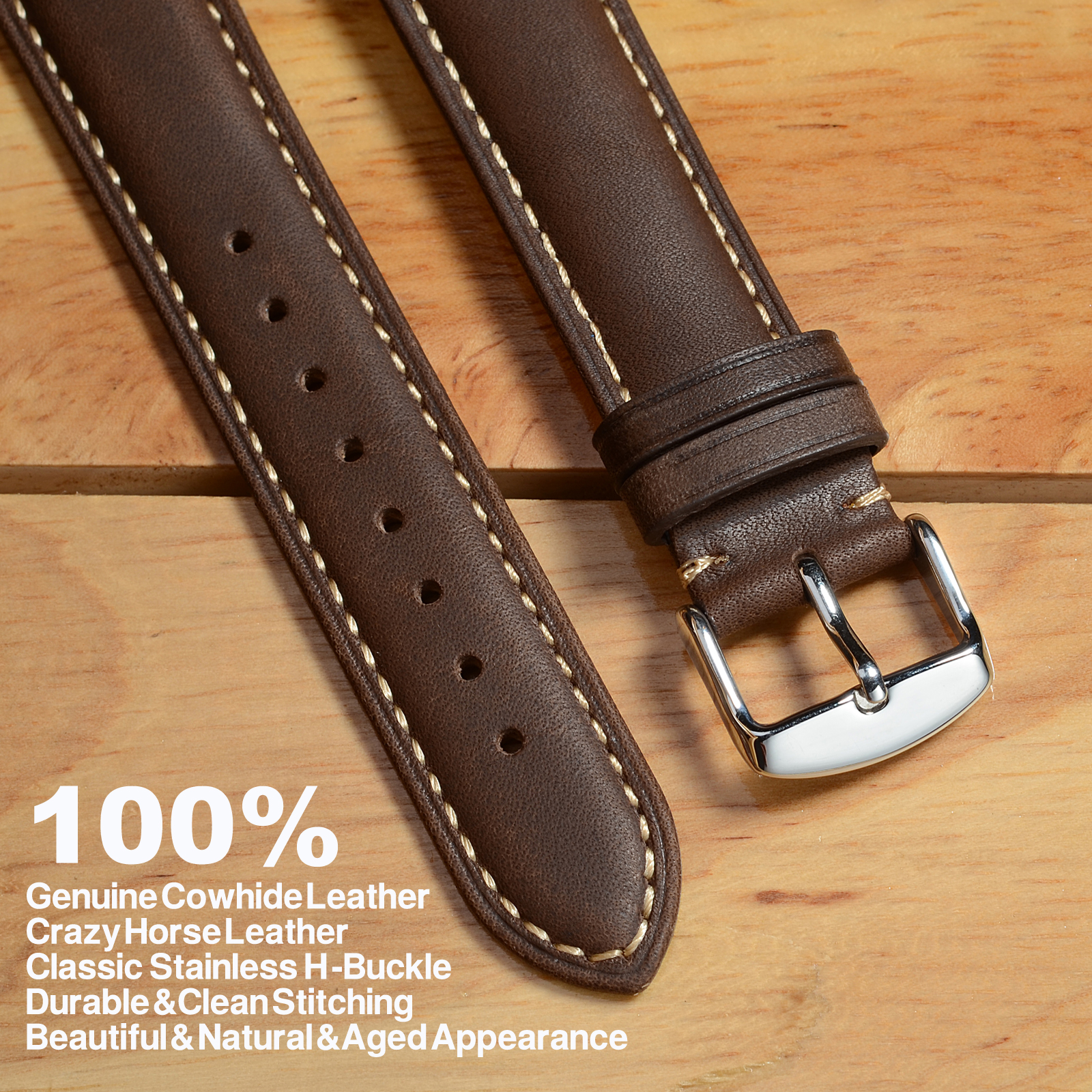 Image 2 - WOCCI 24mm Brown Genuine Leather Watch Strap 14mm 16mm 18mm 19mm 20mm 21mm 22mm Women Men Replacement Watch Bands Crazy Horse-in Watchbands from Watches