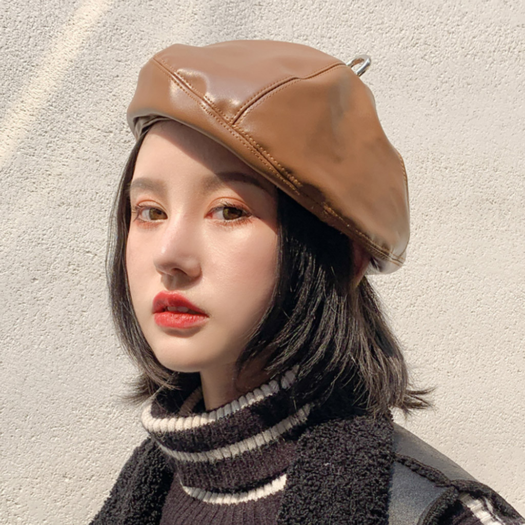 SAGACE 2019 Popular Advanced Leather Small And Cute Women Hat Autumn And Winter Warm Fashion Beret  Hat Dome Trend  Solid Color