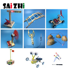 Saizhi 9 sets Kids diy Science Toys Experiments Reptile Robot Assemble Physics Models Kit Creative Educational Gift For Children(China)