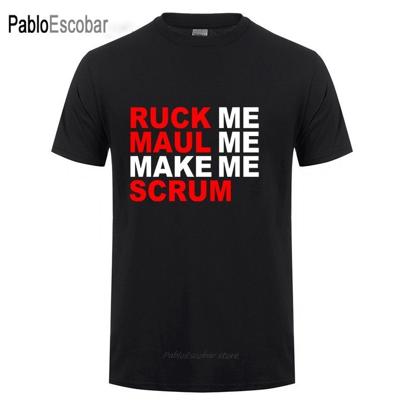 Mens Funny Rugby T-shirt Ruck me Maul moi me faire Scrum