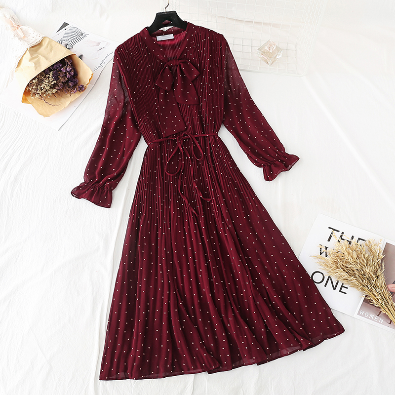 Women Chiffon Dress 2020 New Spring Autumn Floral Print Pleated Dress elegant Long sleeve Loose waist Plus Size Dresses Vestidos