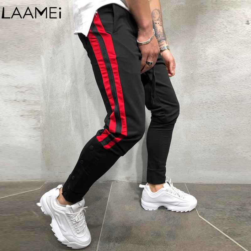 2019 Fashion Men Loose Jogging Sports Pants Sweatpants Casual Pockets Male Trousers Side Stripes Hip Hop Pants Tracksuit Bottoms