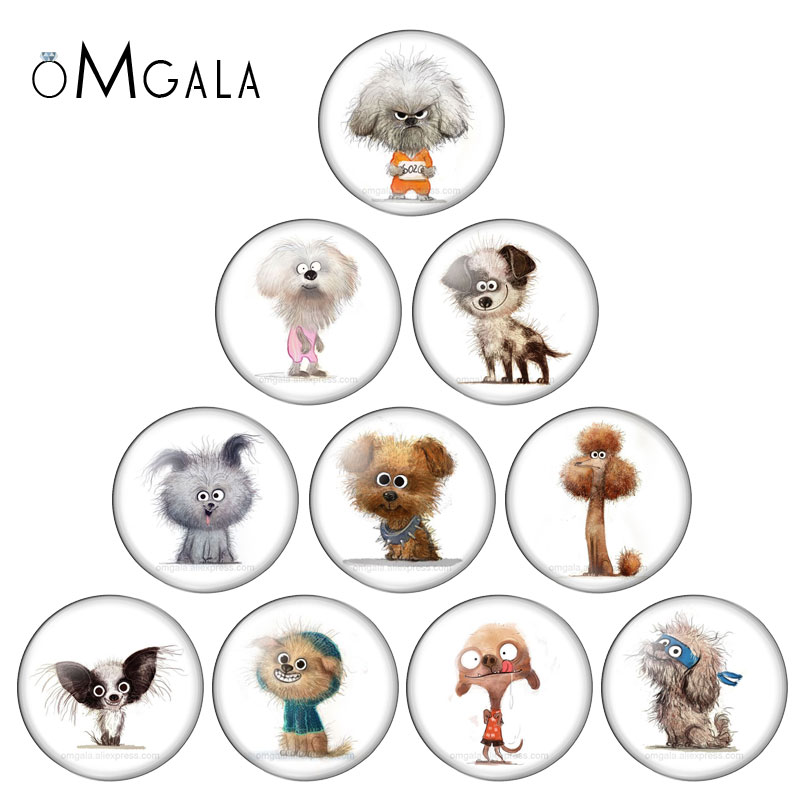 Beauty Cute Funny Dogs Cartoon 10pcs set 12mm/16mm/18mm/20mm/25mm Round photo glass cabochon demo flat back Making findings