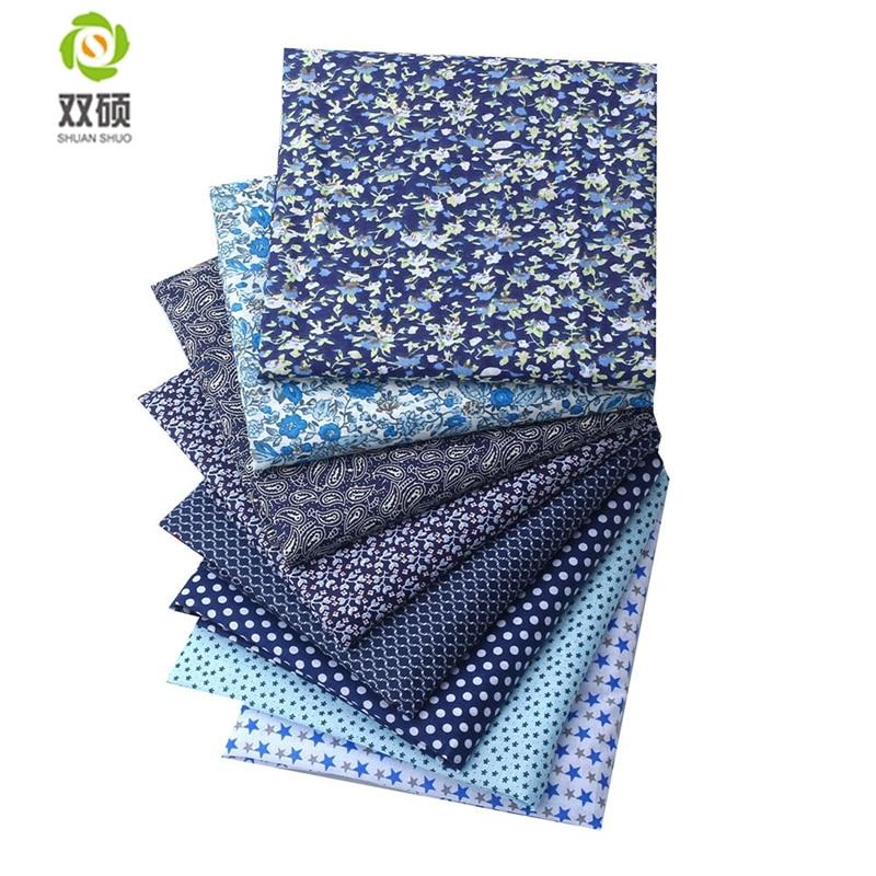 Tissu en coton bleu, tissu Patchwork Fat quarter, couture en lot pour tissu 8 pièces/lot 50x50cm