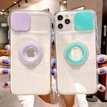 Miękki Push Pull przezroczysty futerał na telefon dla iPhone 11 12 Pro Max 7 8 Plus XR X XS MAX SE 2020 Mini stojak pierścień zderzak tylna okładka