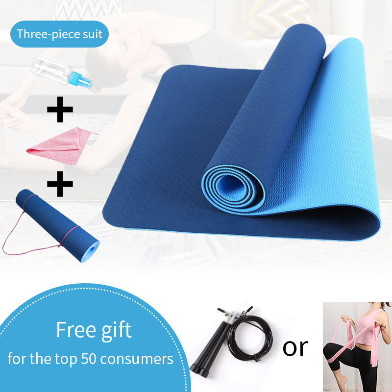 6MM Yoga Mats For Fitness Non-Slip Double Colors Safe To Use For Beginner Eco-friendly Body Building Exercise Mat For Pilate