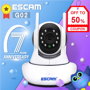 NEWEST ESCAM G02 Dual Antenna 720P Pan/Tilt WiFi IP IR Camera Support ONVIF Max Up to 128GB Video Monitor ip camera(China)