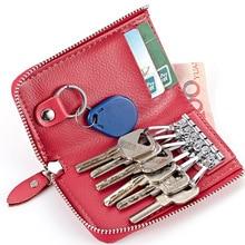 Fashion Simple Key Holder Genuine Leather Wallet Unisex Solid Organizer Bag Housekeeper Card