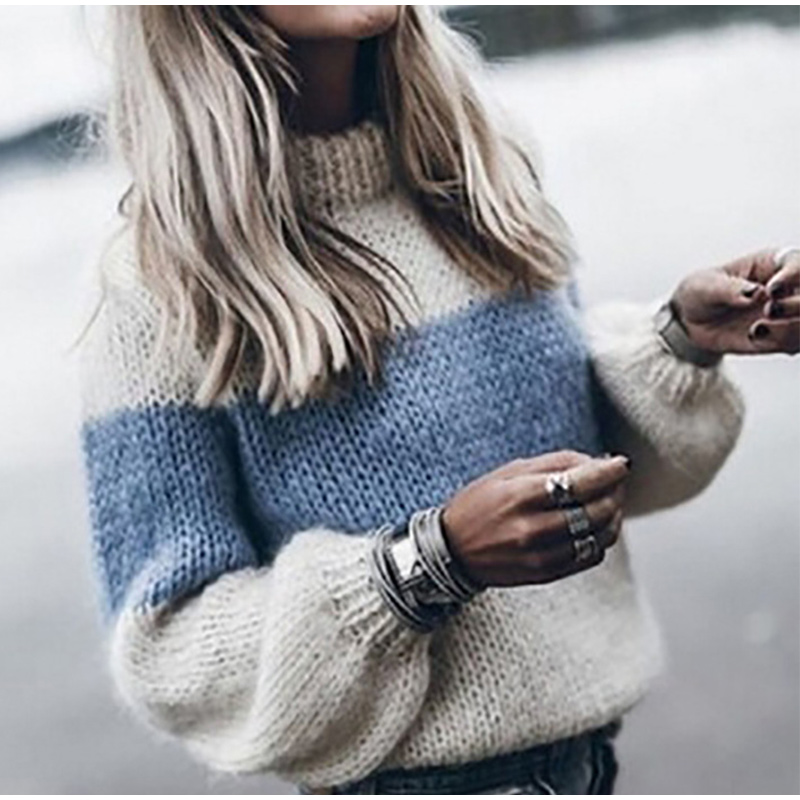 Autumn Winter Women's Loose Knitted Sweater Long Sleeve O-Neck PatchWork Pullover Sweaters For Female 19 Fashion Warm Clothes 2