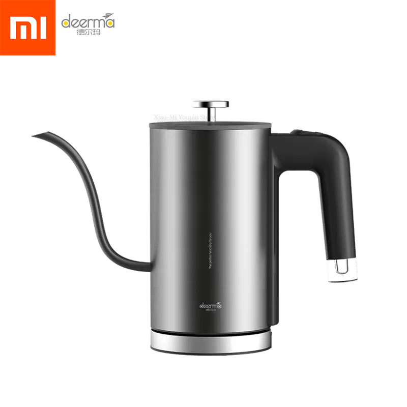 NEW Xiaomi Deerma Electric Kettle Tea Coffee Pot Slender Spout Matte Texture Stainless Steel Kettle LED Heating Lamp 600ml