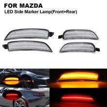 цена на 4PCS Clear LED Car Side Marker Light Lamp For MAZDA Miata Mx-5 2016-2018 2X Front Side marker(Amber)+2X Rear Side marker(Red)