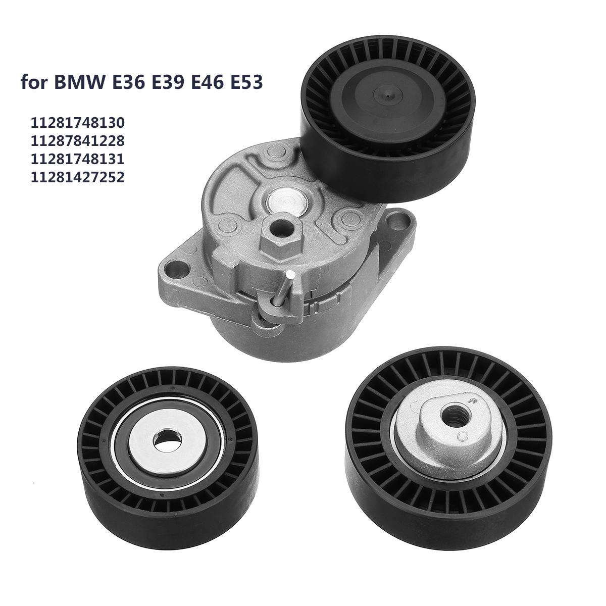 Set of Belt Tensioner + Idler Pulley Kit Replacement for BMW E36 E39 E46 E53 11287841228 Belts  Pulleys  & Brackets     - title=