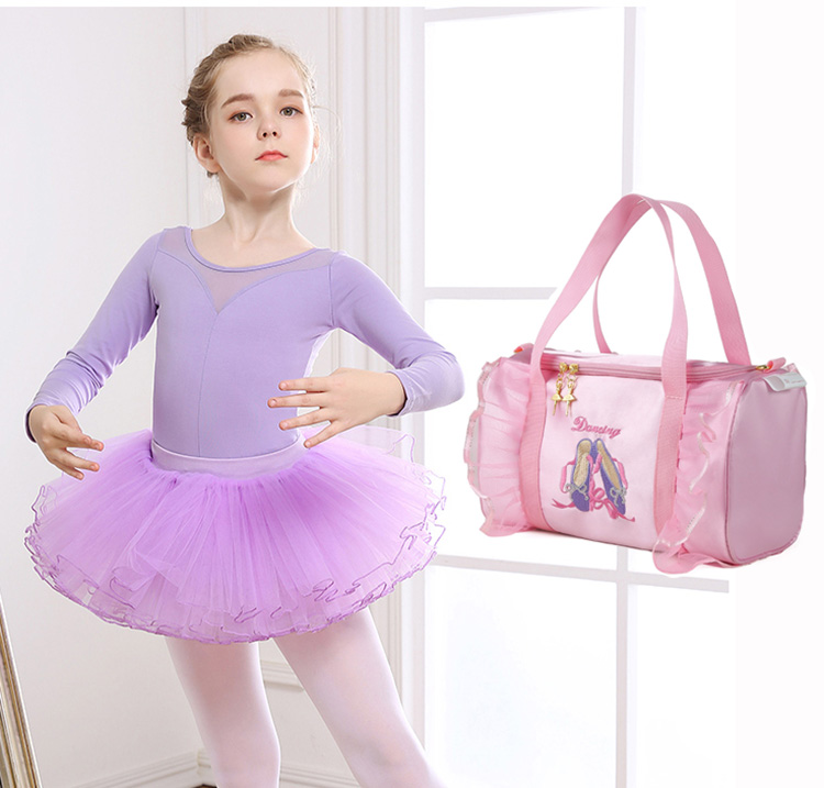 Lace Pink Kids Girls Ballet Dance Bag Students School Backpack Toe Shoes Embroidered Tiered Ruffled Tutu Shoulder Bag Dance