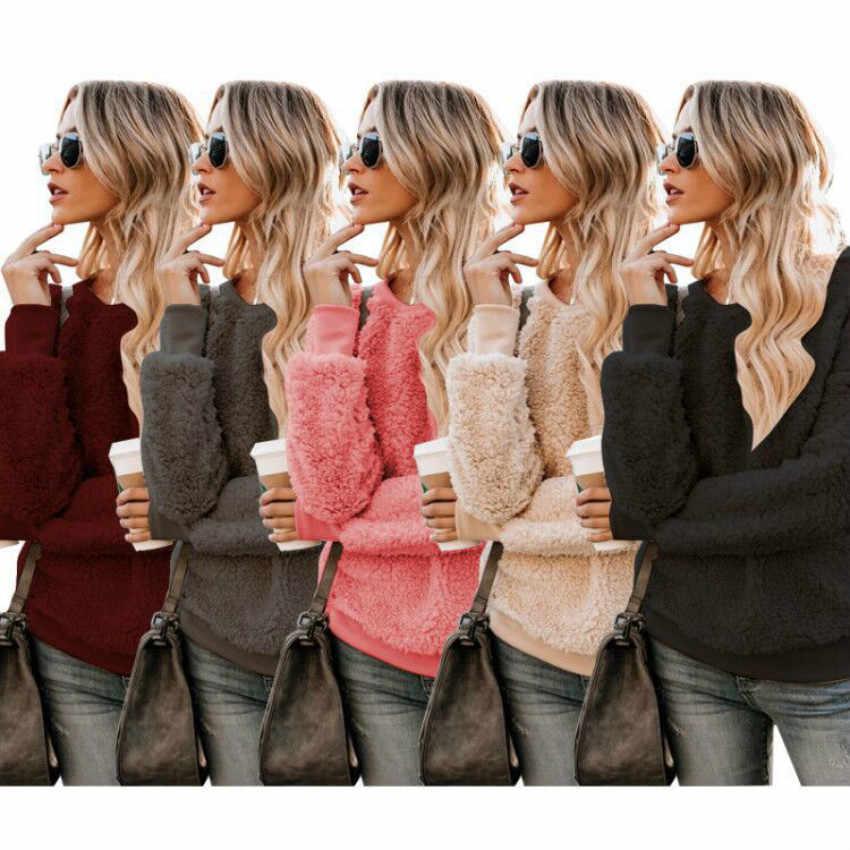 ผู้หญิงหลวมและขี้เกียจลมผู้หญิงเสื้อกันหนาวฤดูใบไม้ร่วง/ฤดูหนาว 2019 ยุโรป/อเมริกา Pullovers ใหม่สีบริสุทธิ์แฟชั่นผู้หญิง Plush TOP