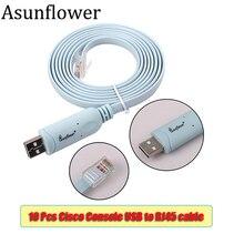 Asunflower 10Pcs Cisco Console Cable USB RJ45 For H3C HP Huawei Arba 9306 1.8M To rj45 FTDI Dropshipping