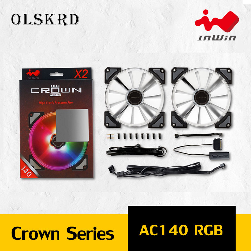 Olskrd Radiator Cooler <font><b>140mm</b></font> Case <font><b>Fan</b></font> LED InWin CROWN AC140 For PC Cooling <font><b>Fan</b></font> Double Ring Quietly cooler cooling <font><b>RGB</b></font> <font><b>fan</b></font> image