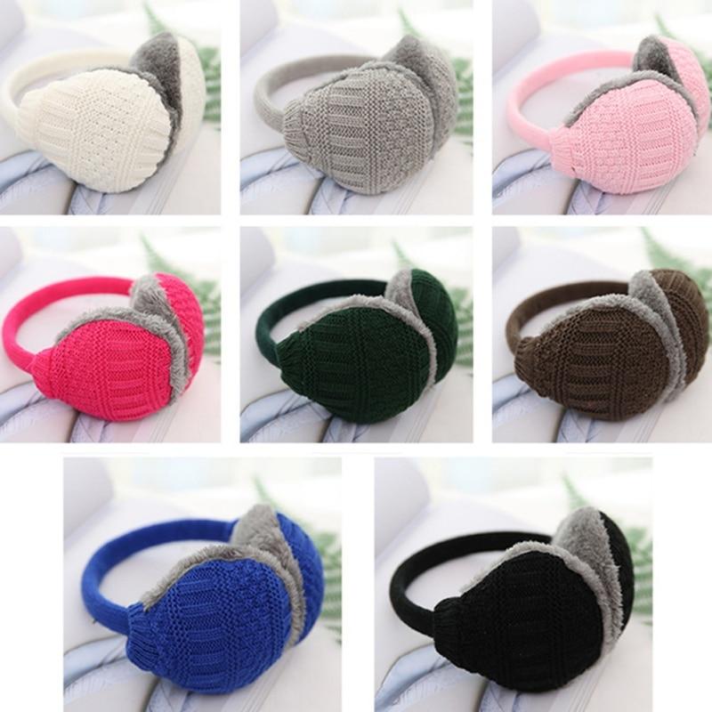 Winter Earmuffs Unisex Solid Winter Ear Warmer Knitted Earlap Men Womens Earflap Earmuffs