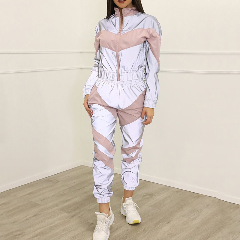 Women's Tracksuit 2 Pieces Set Reflective Zipper Crop Tops Joggers High Waist Pants Autumn Patchwork Casual Sports Cropped Coat