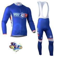 цена на Spring autumn 2019 pro team groupama fdj cycling jersey kits long sleeve Ropa Ciclismo quick-dry MTB bike clothing GEL pad sets