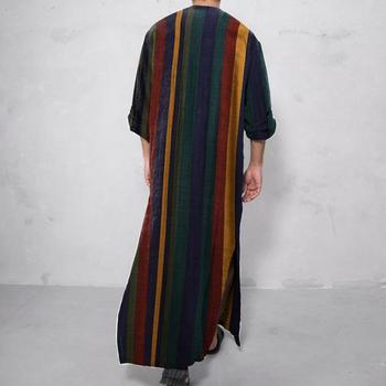 Moroccan Caftan 2021 Mens Arabic Muslim Dresses Long Abaya Kaftan Islamic Fashion Stripe Patchwork Shirts Ethnic Men's Clothing Dress 2