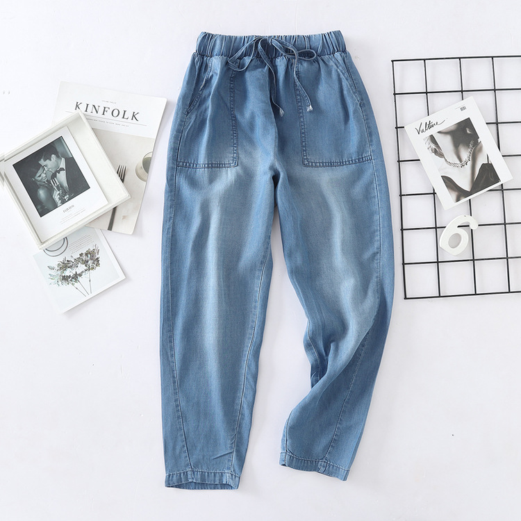 Tencel Jeans Women's Straight-Cut Spring New Style Korean-style Loose-Fit Large Pocket Thin High-waisted Drape Capri Pants S2635
