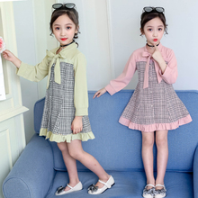 Plaid Girls Dresses for Party and Wedding 2019 Autumn Kids with Sleeves Princess Dress Bow