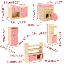 Kid Wooden Furniture Dolls House Miniature 5 Room Set Doll For Christmas Gifts