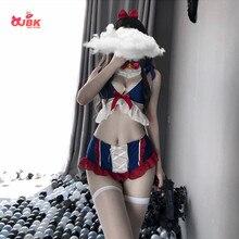 Seksowne kobiety bielizna kostium śnieżki pokojówka jednolite śliczne Kawaii Bunny Tail bielizna sukienka Lolita biustonosz i majtki zestaw