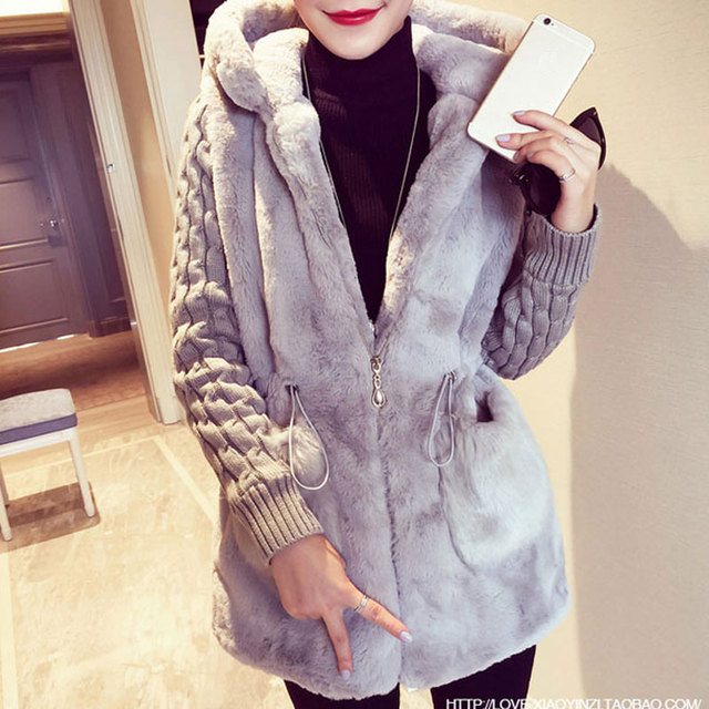 Fashion Faux Fur Coats Women 2020 Winter Plus Size S-4XL Hooded Classic Outwear Patchwork Thick Warm Luxury Knitted jacket 3