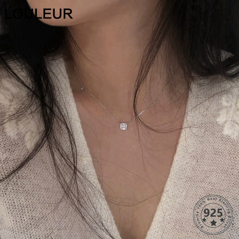 Louleur Zircon Necklace Diamond Choker Fashion Jewelry Shining 925-Sterling-Silver Square