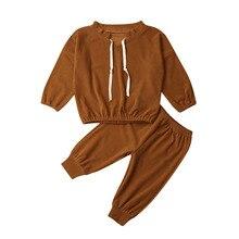 Одежда для маленьких девочек комплект из 2 предметов, Вельветовая Однотонная рубашка для маленьких девочек Топы+ штаны, леггинсы, комплекты одежды для детей возрастом от 1 года до 5 лет