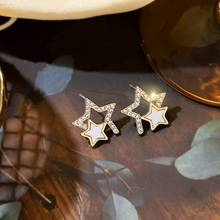 Hollow Out Double Stars Stud Earrings Classic New Fashion Jewelry Wholesale