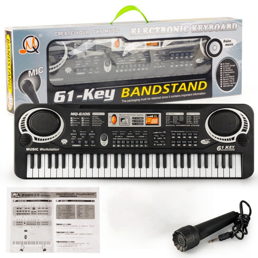 61 Keys Music Electronic Digital Keyboard Electric Organ Children Great Gifts With Random Microphone Musical Instrument