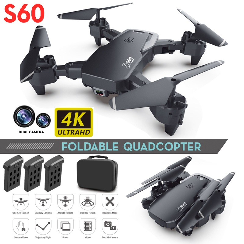 S60 Drone 4k HD Wide Angle Camera 1080P WiFi fpv Drone Dual Camera Quadcopter Height Keep Drone Camera Dron Helicopter Toy