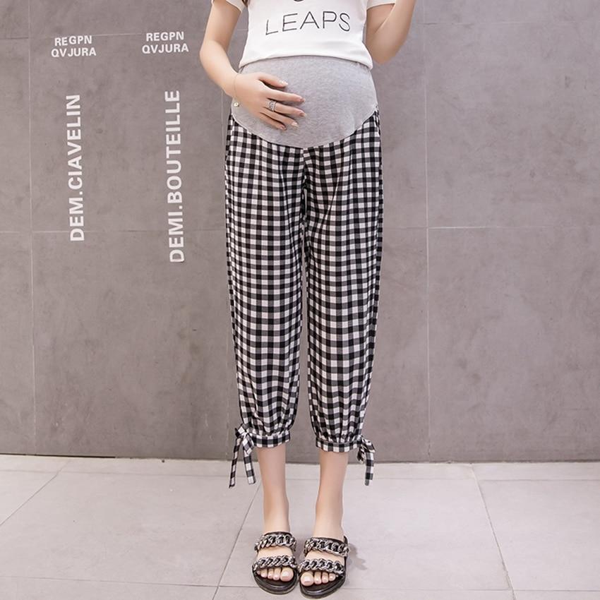 Pregnant Women's Casual Pants Spring and Summer Nine-Point Pants Season Thin Casual Loose Fashion Plaid Tide MomPants