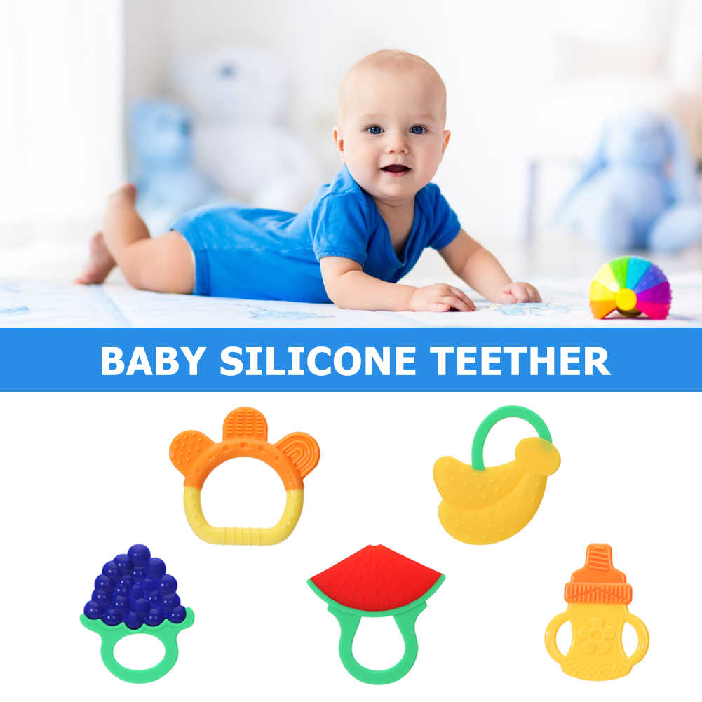 Letter Baby Silicone Teether Teething Toy Chewable Pacifier Soother Gift