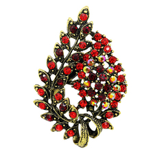 Assorted Colors Red Coffee Blue And Purple Crystal Rhinestones Flower Leaf Brooch Pins In Antique Vintage
