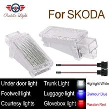 цена на LED Car Interior Courtesy Under door Footwell Luggage Glovebox Roof Light Lamp For Skoda Fabia Octavia Superb Roomster Yeti