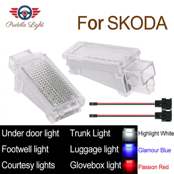car led lights 2x white canbus led door courtesy lights for vw touareg tiguan skoda roomster audi a3 q5 LED Car Interior Courtesy Under door Footwell Luggage Glovebox Roof Light Lamp For Skoda Fabia Octavia Superb Roomster Yeti