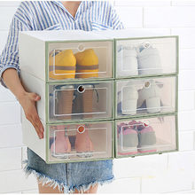 3PCS Foldable Shoe Rack PP Transparent plastic Shoes Organizer Storage Holder box stretcher shoe box flip drawer box(China)
