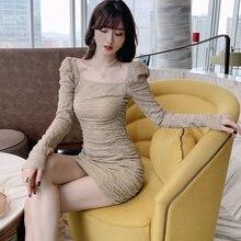 Женское плиссированное платье с длинным рукавом приталенное
