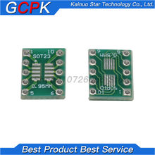 10 pces sot23 msop10 sop-10 umax para dip10 placa de transferência pcb dip pino placa passo adaptador
