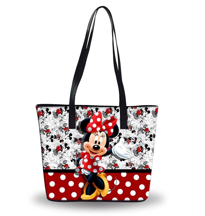 Disney cartoon handbags foldable travel storage bag ladies shoulder leather bag waterproof bag large capacity bag